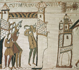 Section of Bayeux Tapestry showing comet of 1066