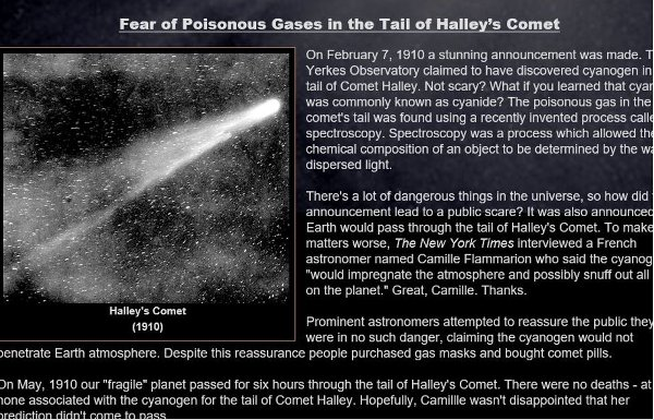 Picture of Halley's comet from 1910, accompanied by article about (unfounded) fears people would die from the poisonous gases in its tail.