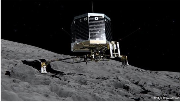 Artists impression of lander on a comet.