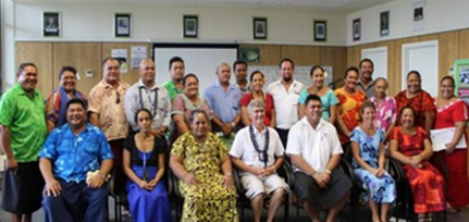 Dr. Paul Henriques with Ministry of Education, Sports and Culture Staff and Teachers, Apia, Samoa - 2014
