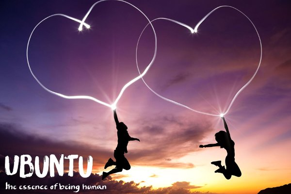Ubuntu - the essence of being human - image of 2 people gliding through the air supported by flying hearts.